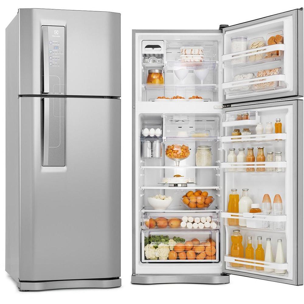 geladeira duplex aberta e fechada