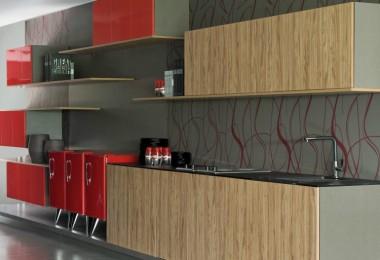 Cozinha com móveis coloridos