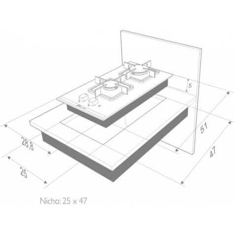 Dimensões de Fogão Cooktop Built Soft 2 Bocas