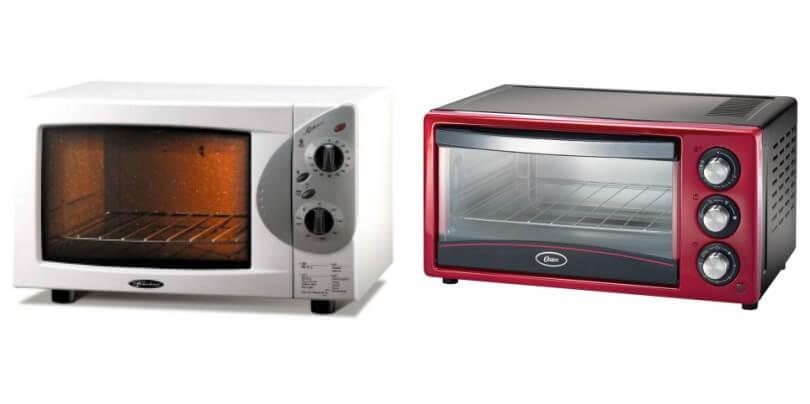 Dois fornos elétricos de bancada. O primeiro, da marca Fischer, de 44L, e o segundo, da marca Oster, de 15L.