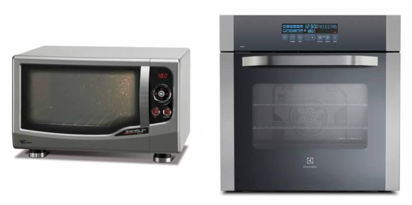 Forno Elétrico de Embutir Electrolux Touch Inox 80L e Forno Elétrico Fischer Inox de Bancada Gratinatto Grill 44L