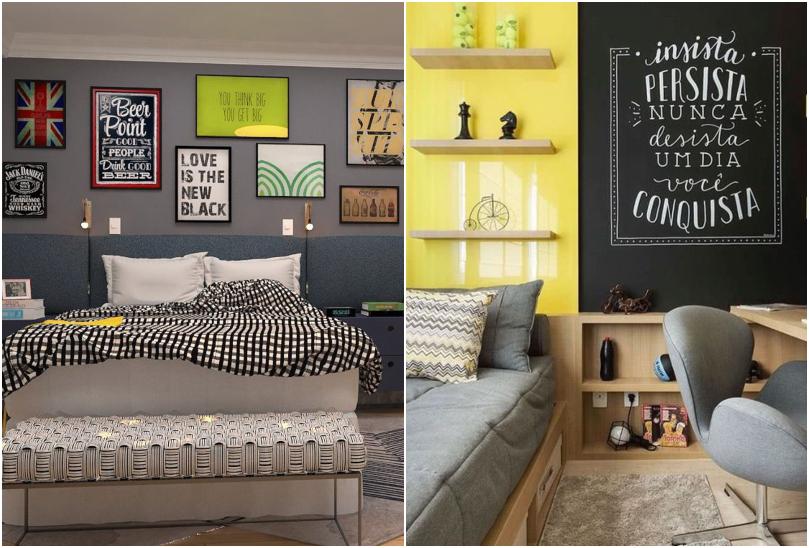 Quarto de casal com paredes coloridas