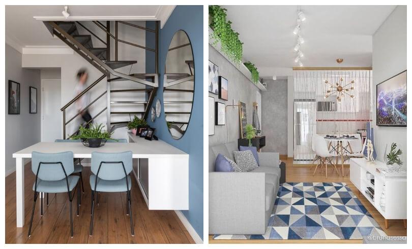 Paredes coloridas em apartamento pequeno