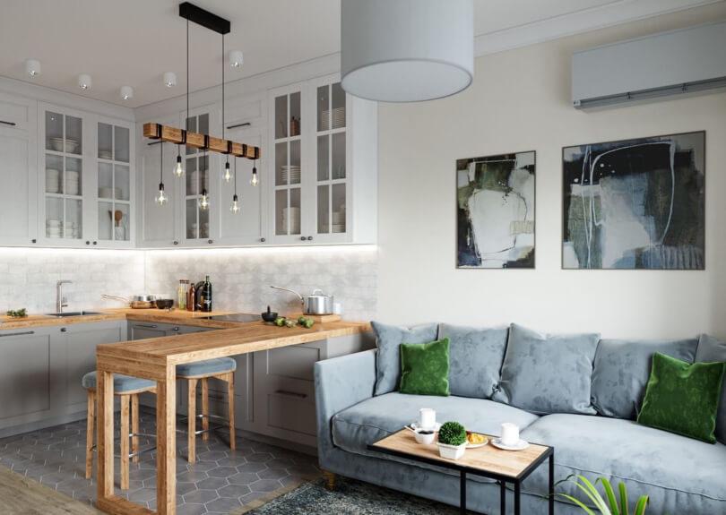 Sala e cozinha compartilhadas